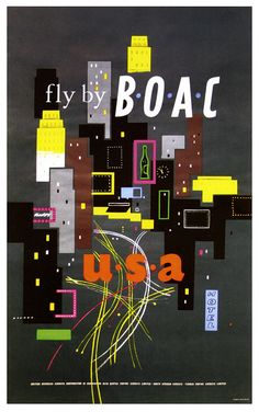 Fly BOAC to the USA (love the fab mid-century design of this vintage 1950s airline ad). #vintage #1950s #travel #airlines