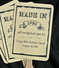 """An elegant take on the hand fan these Adult Birthday Favors will provide guests with a welcome breeze for those sunny warm days. Absolutely perfect for a little added fun to the party. What a great keepsake for your guests! Shown here for an 80th birthday favor, these can be made for any birthday. Birthday Party Fans come FULLY ASSEMBLED and the price includes personalization. Personalized hand fans measure approximately 5"""" wide by 11 1/2"""" high, two sided, printing on one side only. Wooden…"""