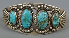 VINTAGE  Cuff Bracelet listed as #8 Turquoise Stones, unknown maker, shank is sheet with cut out or stamped out opening and has been repaired.