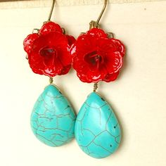 Items similar to Turquoise and Red Rose Earrings, FRIDA Collection on Etsy Red Jewelry, Turquoise Jewelry, Beaded Jewelry, Unique Jewelry, Mexican Colors, Red Turquoise, Rose Earrings, Making Ideas, Red Roses