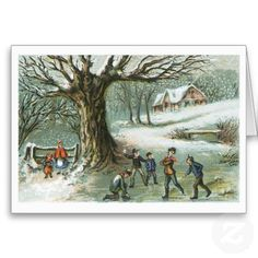 Snowball Fight Vintage Victorian Christmas Greeting Cards