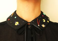 Hand embroidered 'Cosmos' Peter Pan Collar by by BaobapHandmade