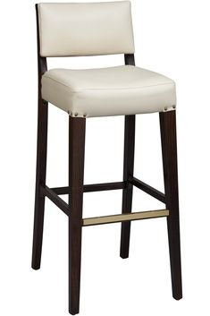 This modern wooden counter height bar stool with mid-century lines comes in either mahogany or dark walnut and features a square upholstered seat along with a comfortable upholstered back. Many colors available - or supply your own material for a one-of-a-kind look.   Item  1,3 yards fabric for wach chair