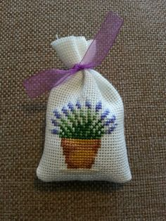 Cross stitch lavander sachet