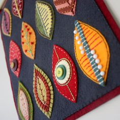 Artful Autumn | Craftster Blog - Embellished felt leaves. Would love to use this as a cover for my journal or Kindle.