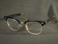 Vintage Eye Glasses RISO 1/10 12K Horn Rimmed Aluminum Frame Mad Men 50's 60's