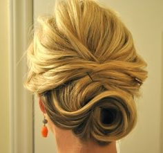 Pretty up do for medium length hair.