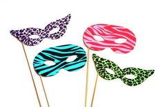 Amazon.com: Photo Booth Props - Set of 4 - Colorful Masquerade Masks - Great for Parties and Weddings: Health & Personal Care