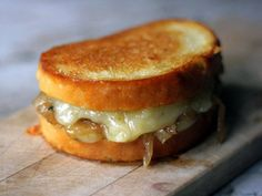 French Onion Soup Grilled Cheese...seriously THE BEST grilled cheese you WILL EVER EAT. (and you can put a cast iron griddle right on the grill and make these steaming hot and fresh!)