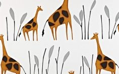 Geoffrey - Giraffe - Rows of large and small warm caramel & cocoa coloured giraffes printed with tall grey grass on white cotton fabric from Prestigious Textiles Childrens Curtains, Kids Curtains, Cotton Curtains, Cotton Fabric, Curtains Made Simple, Made To Measure Curtains, Curtain Material, Curtain Fabric, Stuart Graham