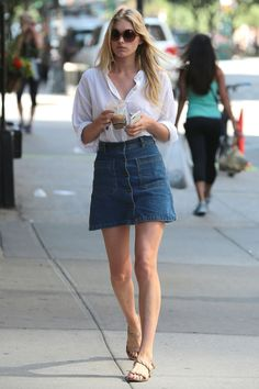 Style Guides: How to Wear: Button-front Denim Skirt | p o s t s ...