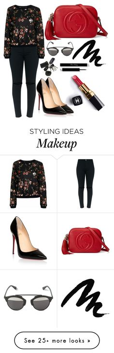 """""""Untitled #4324"""" by tatyanaoliveiratatiana on Polyvore featuring Chanel, Christian Louboutin, Christian Dior, Gucci and Yves Saint Laurent"""