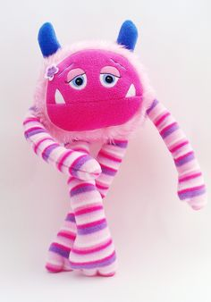 Valentines day toy, cute stuff for kids, pink striped candy floss plush stuffed monster toy. Called Flora. Handmade in the UK. On Etsy. https://www.etsy.com/listing/156722990/valentine-sale-stuffed-plush-love?ref=shop_home_active_1