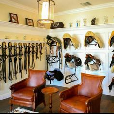 Equestrian helmets might not be the most significant style feeling today, but there are some stories behind them. The distinct design of the helmet, kept even in nowadays of modern materials and ad… Horse Tack Rooms, Horse Stables, Horse Barns, Horse Shelter, Tack Room Organization, Horse Barn Designs, Horse Barn Plans, Saddle Rack, Architecture