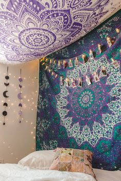 Lady Scorpio | @Ladyscorpio101 ☽☽ ladyscorpio101.com ☆ Perfect Bedroom Decor for the Hippie at heart ♡ Alexa Halladay is Boho Bungalow - Lavender Purple Tapestry with Copper Fairy Lights! Including Moon Phase Wall Hangings!
