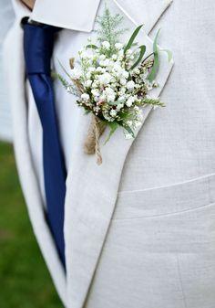 Rustic babies breath boutonnière * Barn wedding * Linen Suit * Navy & Tiffany Blue Wedding * MStudio Floral Design - Woodbury, MN