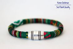 Simple yet awesome woven cotton men's #bracelet in Tribal Rasta Green pattern by SeaRanchJewelry. 9 other colors are available so why stop at just one? Great gift idea for any guy - vegan too!