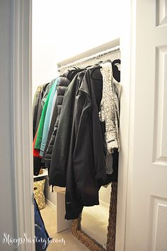Closet Under the Stairs DIY Custom Storage. Great use of space in a deeper closet!  Easy to reach shelving   coat storage to increase space.  Completed in 3 days!