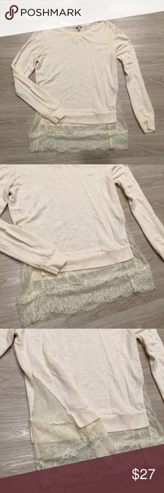 """Clu Long Sleeve Pullover Thin Sweater Lace Trim XL Used Condition with normal signs of wear! Slight tearing in 2 spots on the bottom trim! See photos for detail.  **Please check measurements below for accurate fit**     Brand - Clu  Size - XL  Color - Cream  Style - Crew Neck Pullover Sweater - Thin - Lace Sides and Bottom Trim     Measurements taken while laying flat  armpit to armpit - 19.5""""  armpit to edge of sleeve - 20.5""""  back top down to the bottom - 28"""" Clu Sweaters Crew & Scoop…"""