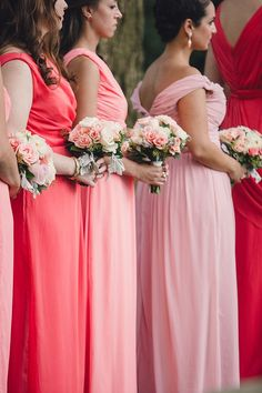 #Bridesmaids Pink to Coral Color Palette |  See the wedding on SMP: http://www.StyleMePretty.com/2014/01/27/ombre-wedding-at-aldie-mansion/ Lauren Fair Photography