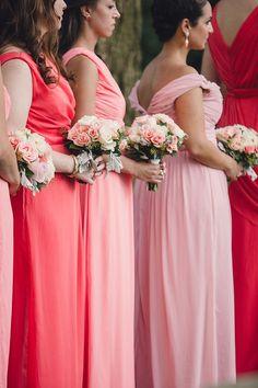 #Bridesmaids Pink to Coral Color Palette. Via Inweddingdress.com #wedding #bridesmaid