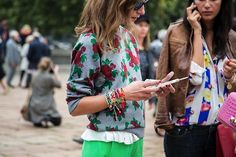 prettiest floral sweater and a multi-colloured collection of friendship bracelets- totally love it!