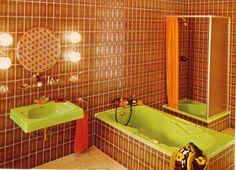 home Whrend heute im Bad die komplette Ke - Faux Leather Couch, Retro Interior Design, 70s Home Decor, Vintage Bathrooms, Vintage Interiors, Bathroom Interior, Bathroom Colors, Home Goods, Decoration