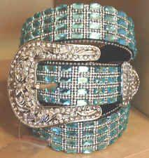 Women Western Atlas Bling Cowgirl Leather Belt Blue Rhinestone Crystal SUPER