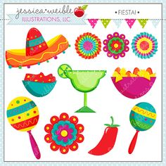 Fiesta! set comes with 11 Fiesta graphics including: 2 fans, 2 flowers, 2 Maracas, a sombrero, a margarita, a red pepper, a bowl of chips, and a