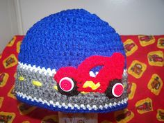 a hat I made for my son's birthday since he loves Cars
