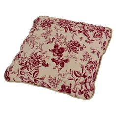 $29.99 Ellis Curtain Palmer Floral Toile Toss Pillow in Red