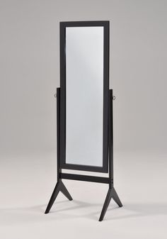 Black Finish Wooden Cheval Bedroom Free Standing Floor Mirror. Finish: Black. Materials: Rubberwood, hardwood, MDF, Glass. A full body mirror framed with sleek white finish. Adjustable tilt frame solidly supports the mirror body. Dimensions: 58 inches high x 18.5 inches wide x 18 inches deep.