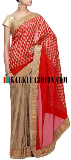 Buy Online from the link below. We ship worldwide (Free Shipping over US$100) http://www.kalkifashion.com/half-and-half-saree-in-red-and-gold-embroidered-in-zari.html Half and half saree in red and gold embroidered in zari