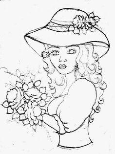 desenho de boneca com rosas para pintar em pano de copa e colocar saia de croche