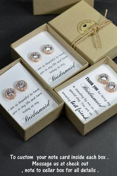 Bridesmaids Gifts idea for saying thank you from Spring Wedding… Rose Gold Bridesmaid, Be My Bridesmaid Cards, Wedding Gifts For Bridesmaids, Personalized Bridesmaid Gifts, Bridesmaid Proposal, Gifts For Wedding Party, Bridesmaid Earrings, Party Gifts, Wedding Cards