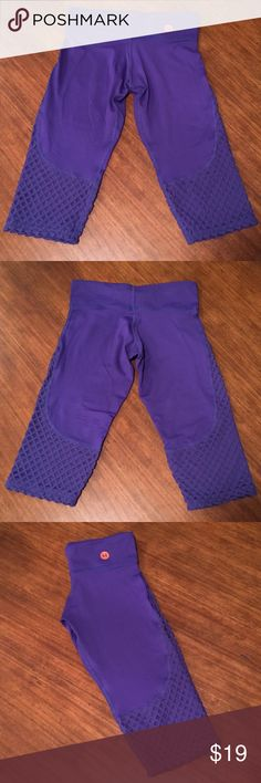 Hotdrop Apparel Crop Fishnet Yoga Leggings Leggings are high quality, made in the USA, and are a beautiful deep purple color. In very good condition. Hotdrop Pants Leggings