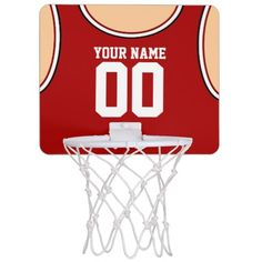 Custom Name/Number Mini Basketball Hoop Red T-shirt.  By artist Reflections06.