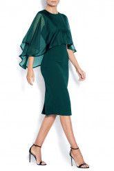 Midi crepe dress with veil Subtle luxury details. Contemporary and elegant dress. Anna Dress, Crepe Dress, Veil, Blue Dresses, Royal Blue, Party Dress, Cold Shoulder Dress, Couture, Contemporary