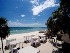 Sandos Caracol Eco Resort & Spa has a variety of ways to rest and relax on the beach!  There are areas for sunning and for sitting under shade.  You can even lay down on an outdoor bed in between dips in the Caribbean Ocean!  Come and enjoy the white sand beaches of the Mexico Caribbean on your next vacation!