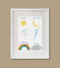Nursey printables Feelings Educational print Nursery Decor | Etsy Art Wall Kids, Wall Art, Artwork Prints, Canvas Prints, Ups Store, Photo Center, Nursery Decor, Finding Yourself, Handmade Items