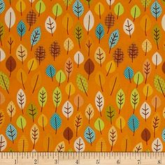 Riley Blake Happy Harvest Leaves Orange Fabric