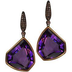 """Plukka """"""""Purple Roc"""""""" Amethyst Drop Earrings (3,335 CAD) ❤ liked on Polyvore featuring jewelry, earrings, dangle earrings, purple jewellery, drop earrings, pave diamond earrings and purple earrings"""