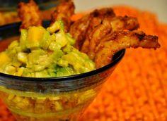 Spicy Shrimp With Avocado, Corn, and Mango Cocktail #holidayavocado @Diane Avocado