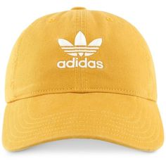 adidas Originals Cotton Relaxed Cap ($24) ❤ liked on Polyvore featuring accessories, hats, bills hat, cotton cap, adidas hat, cotton hat and adidas cap