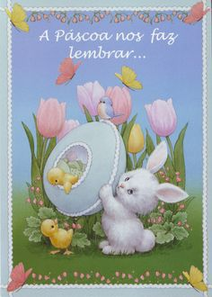 White bunny and chicks with tulips and Easter eggs Postcard by Ruth Morehead