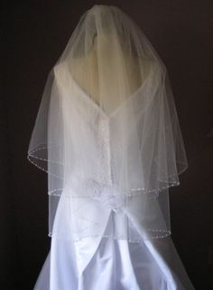 Pearl Beaded Edge Two Tier Wedding Veil by midsummereve on Etsy, $85.00