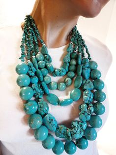 Make a turquoise statement....a BIG statement! By JewelryByJessicaT on Etsy, http://www.etsy.com/listing/98143908/turquoise-gemstone-statement-necklace