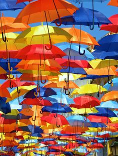 Beautiful, colorful floating umbrellas, hung above some of the streets in Agueda, Portugal, during the month of July.