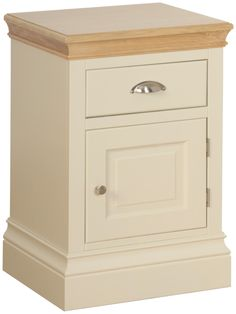 Emily 1 Drawer 1 Door  Bedside  Painted Ivory with Oak Tops