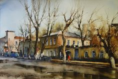 Vjacheslav Kurseev Watercolor Artists, Artist Painting, Watercolour Painting, Civil Engineering, Graphic Design, House Styles, Water Paints, Selection, Sketching